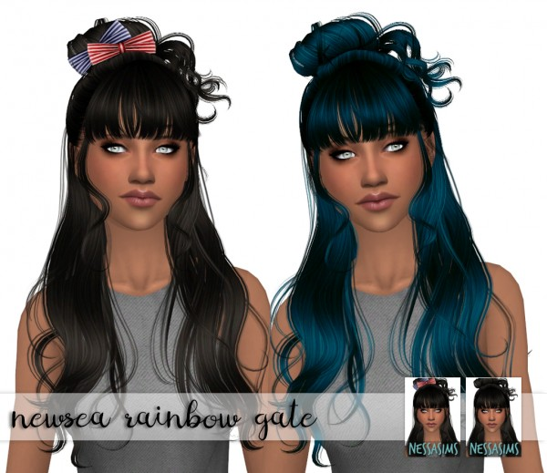 Nessa sims: Newsea`s Rainbow gate hair retextured for Sims 4