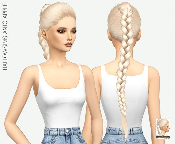 Miss Paraply: Anto`s Apple hair retextured for Sims 4