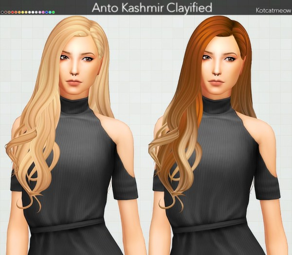 Kot Cat: Anto`s Kashmir Hair Clayified for Sims 4