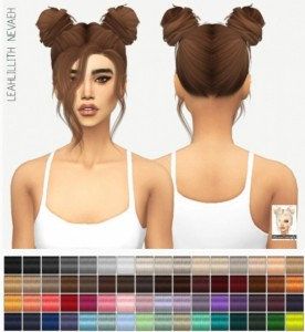 Miss Paraply: Leahllith`s Nevaeh hair retextured for Sims 4