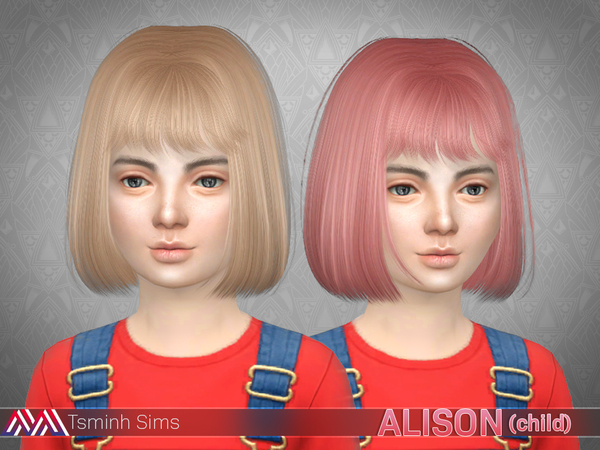 The Sims Resource: Alison Hair 18 child by tsminh 3 for Sims 4