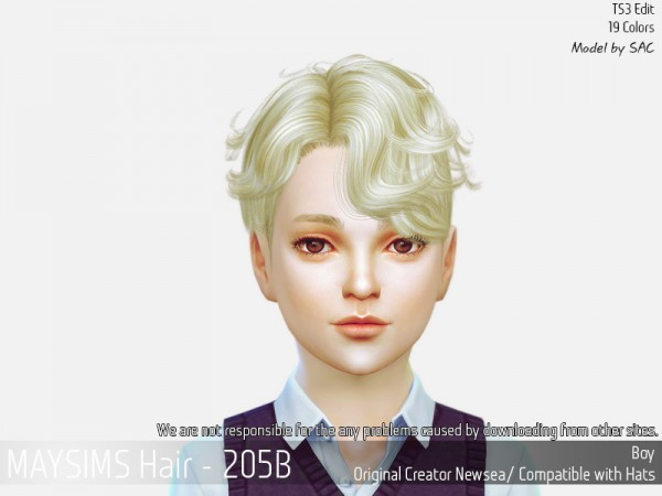 MAY Sims: May 205B hair reetxtured for Sims 4