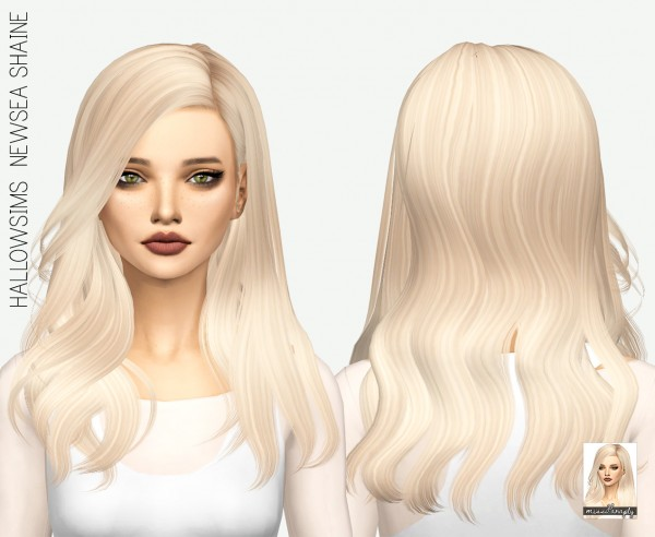 Miss Paraply: Newsea`s Shaine hair retextured for Sims 4