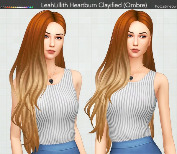 Kot Cat: LeahLillith`s Heartburn Hair Clayified (Ombre) for Sims 4