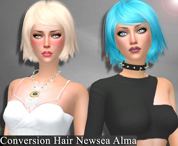 Genius6613: Newsea`s Alma hair retextured for Sims 4