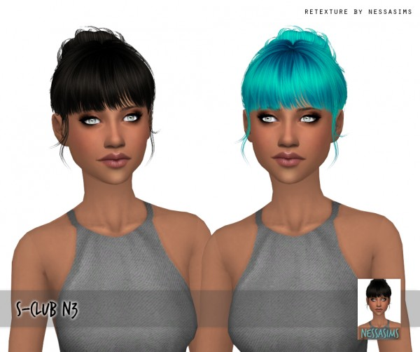 Nessa sims: S Club N3 hair retextured for Sims 4