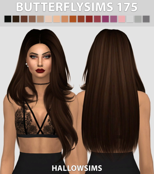 Hallow Sims: Butterfly`s 175 hair retextured for Sims 4