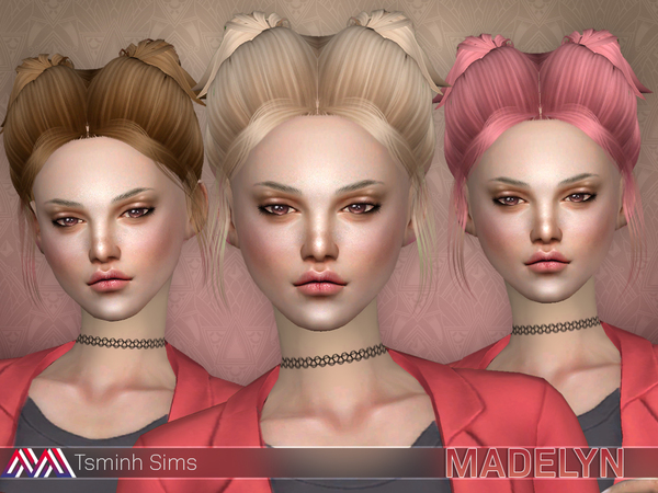 The Sims Resource: Madelyn Hair 17 by tsminh for Sims 4