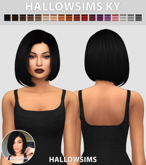 """Hallow Sims: """"KY"""" hair for Sims 4"""