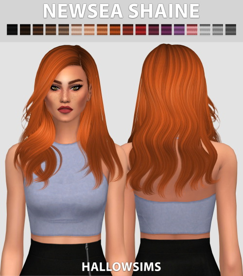 Hallow Sims: Newsea`s Shaine hair retextured for Sims 4