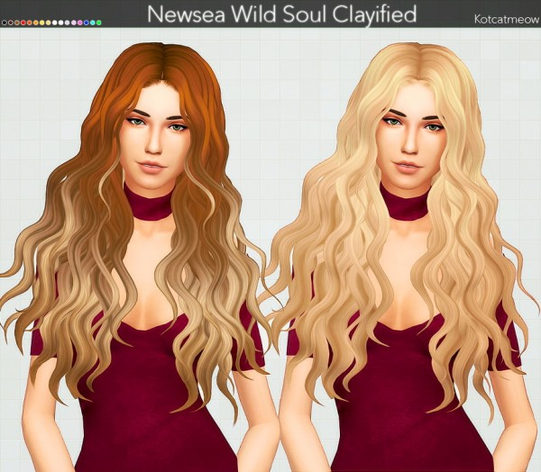 Kot Cat: Newsea`s Wild Soul Hair Clayified for Sims 4