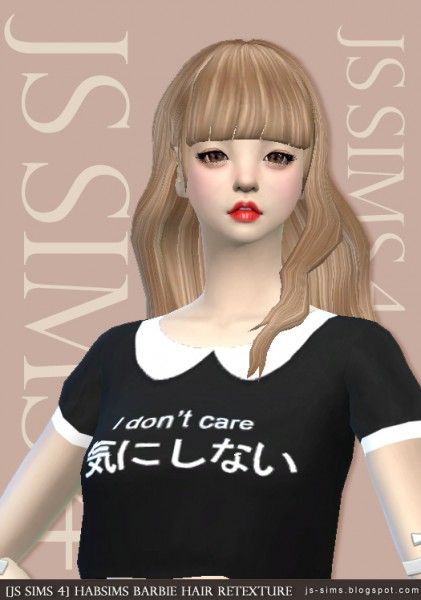 JS Sims 4: Habsims Barbie Hair Retextured for Sims 4