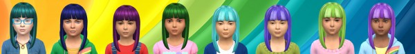 Simsworkshop: Color hair kids girl retextured by Alfredlovessims for Sims 4
