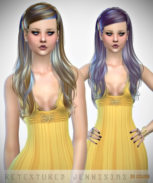 Jenni Sims: Newsea`s J121 Monochrome hair retextured for Sims 4