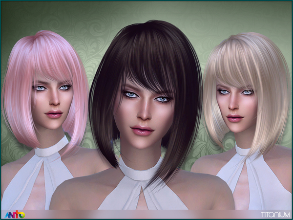 The Sims Resource: Titanium Hair by Anto for Sims 4