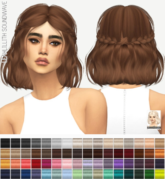 Miss Paraply: Leahlillith`s Soundwave solids hair retextured for Sims 4