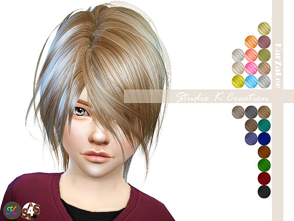 Studio K Creation: Animate hair 52 KYO kids for Sims 4
