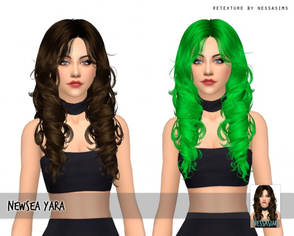 Nessa sims: Newsea`s Yara hair retextured for Sims 4