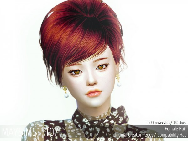 MAY Sims: May 107F hair retextured for Sims 4
