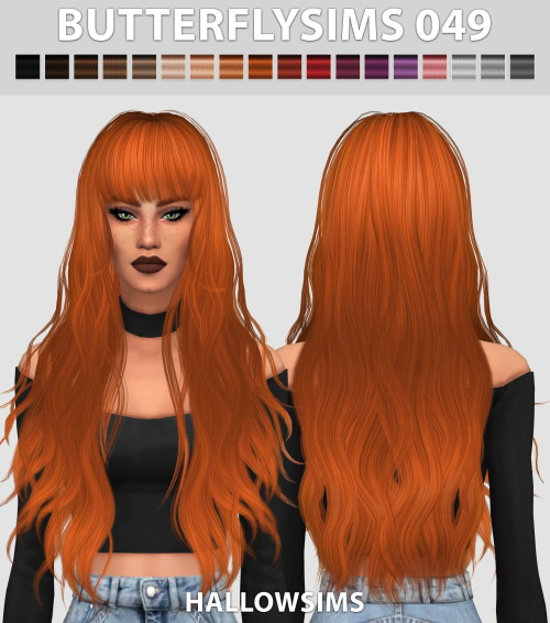 Hallow Sims: Butterfly`s 049 hair retextured for Sims 4
