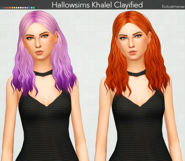 Kot Cat: Khalel Hair Clayified for Sims 4