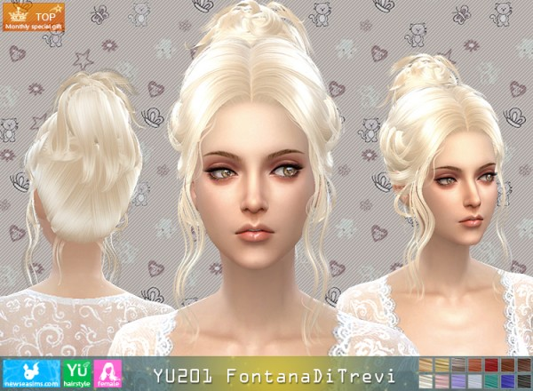 NewSea: YU201 Fontana Di Trevi hair for Sims 4