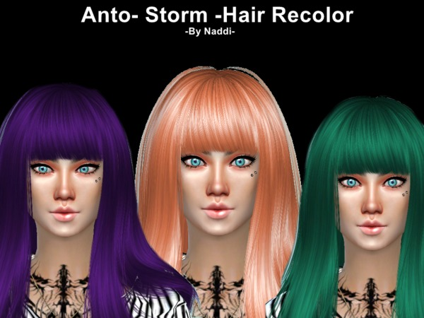 The Sims Resource: Anto`s Storm  hair recolored for Sims 4