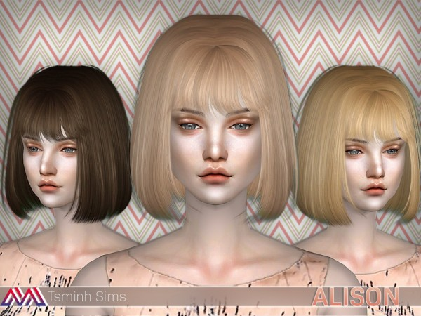 The Sims Resource: Alison Hair 18 by tsminh 3 for Sims 4