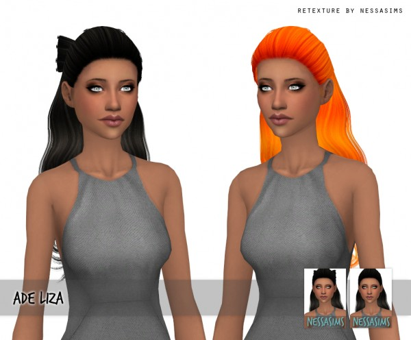 Nessa Sims: Ade`s Liza hair retextured for Sims 4
