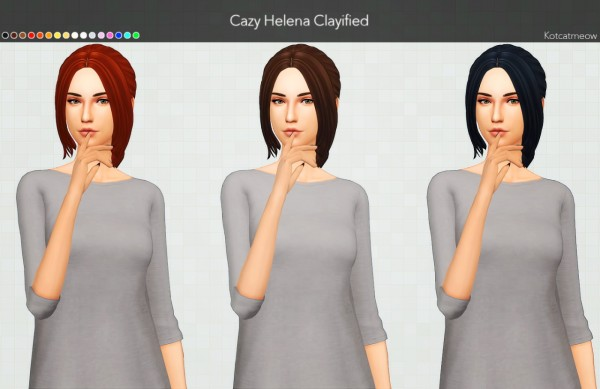 Kot Cat: Cazy Helena Hair Clayified for Sims 4