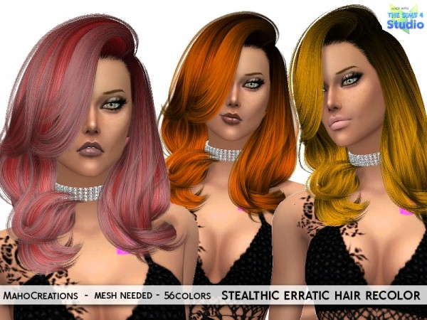 The Sims Resource: Stealthic`s Erratic hair recolored by MahoCreations for Sims 4