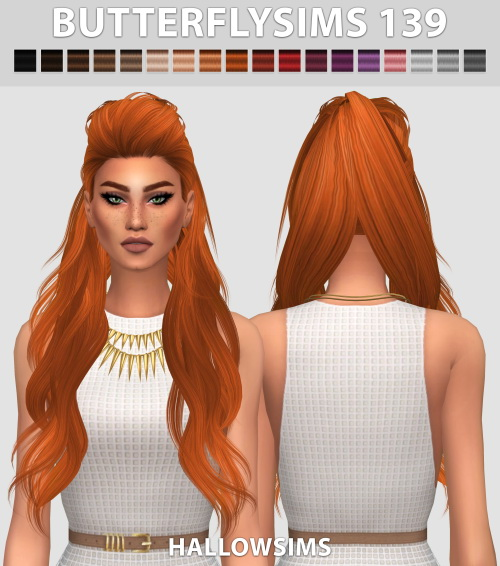 Hallow Sims: Butterfly`s 139 hair retextured for Sims 4