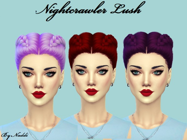 The Sims Resource: Nightcrawler`s Lush hair recolored by Naddiswelt for Sims 4