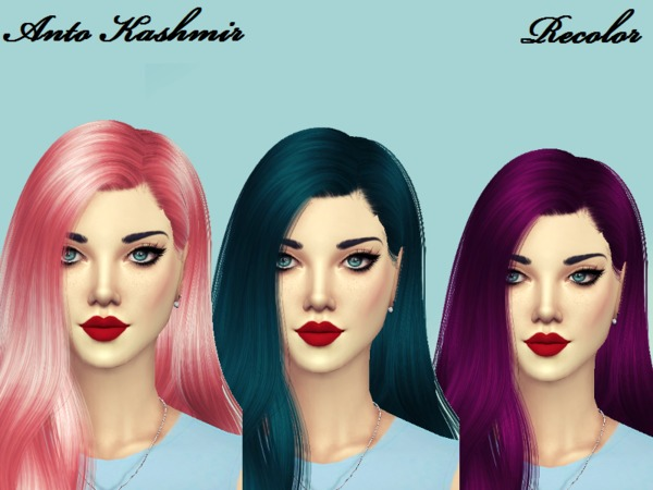 The Sims Resource: Anto`s Kasmir Hair Recolored by Naddiswelt for Sims 4