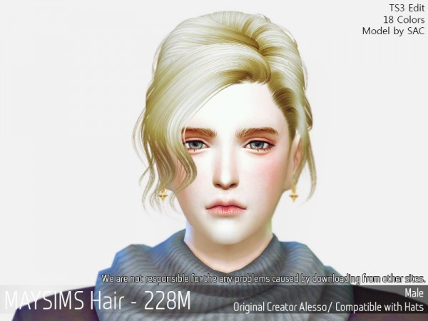 MAY Sims: May 228M hair retextured for Sims 4