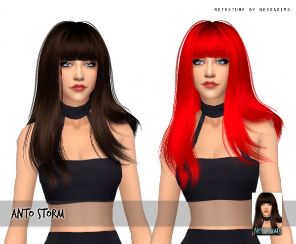 Nessa sims: Anto`s Storm  hair retextured for Sims 4