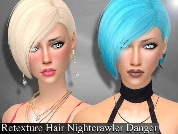 The Sims Resource: Nightcrawler`s Danger Hair Retextured by Genius66 for Sims 4
