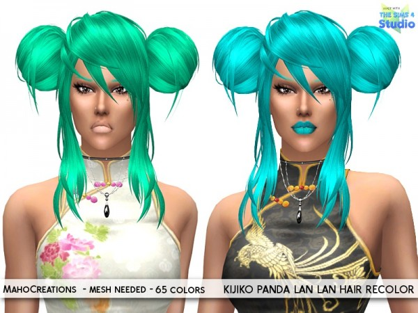 The Sims Resource: Kijiko Panda Lan Lan Hair Recolored by MahoCreations for Sims 4