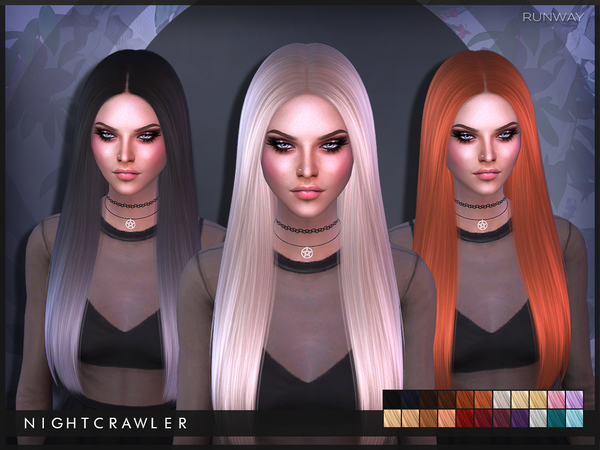 The Sims Resource: Runway hair by Nightcrawler for Sims 4
