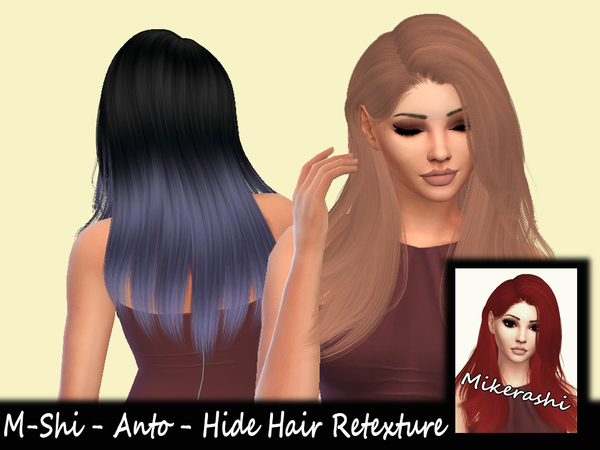 The Sims Resource: Anto` Hide Hair Retextured by Mikerashi for Sims 4