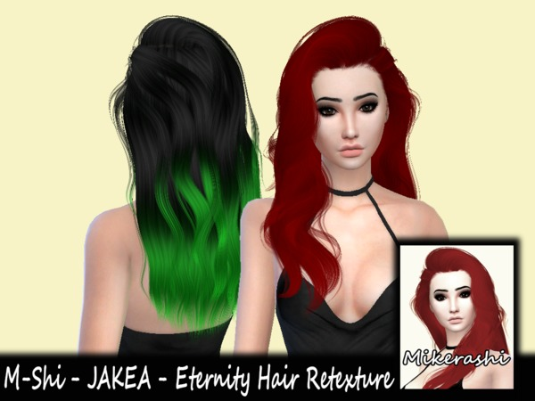 The Sims Resource: Jakea`s Eternity hair retextured by mikerashi for Sims 4