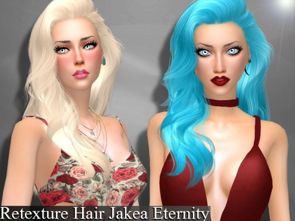 The Sims Resource: Jakea`s Eternity hair retextured by Genius666 for Sims 4
