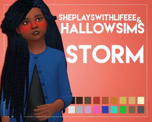 Weepingsimmer: Storm hair retxtured for girls for Sims 4