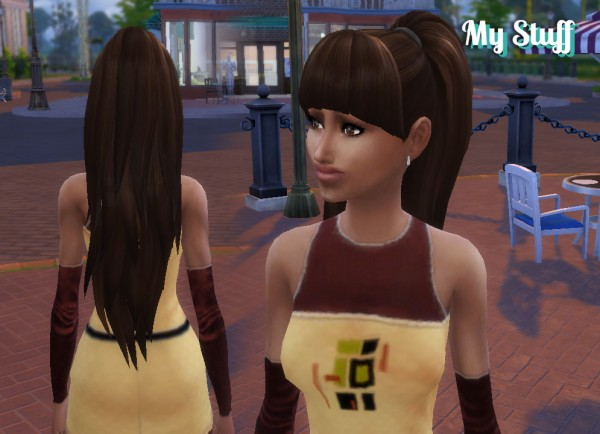 Mystufforigin: Ariana ponytail hair for Sims 4