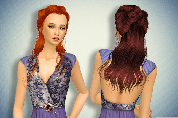 Pllumbobbilypixels: Wing`s NTE910 F hair retextured for Sims 4