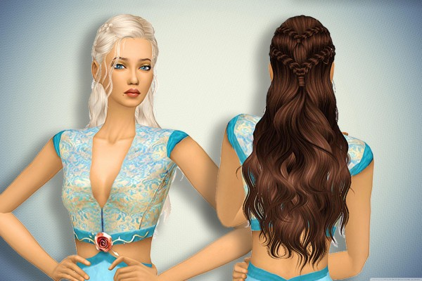 Pllumbobbilypixels: Newsea`s Dracarys Hair retextured for Sims 4