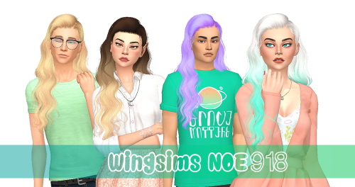 Stardust: Wings Noe918 hair retextured for Sims 4