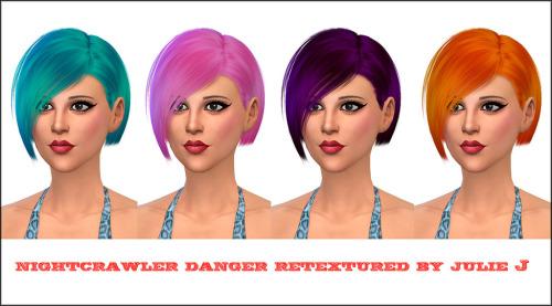 Julietoon: Nightcrawler`s Danger hair retextured by Julie J for Sims 4