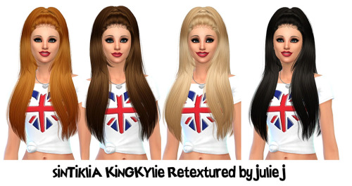 Julietoon: Sintiklia`s KingKylie hair retextured by Julie J for Sims 4