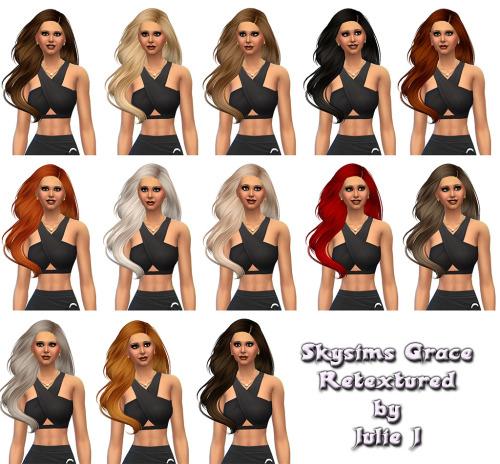 Julietoon: Skysims Grace hair retextured by Julie J for Sims 4